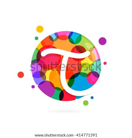 T letter logo in circle with rainbow dots. Font style, vector design template elements for your application or corporate identity. - stock vector