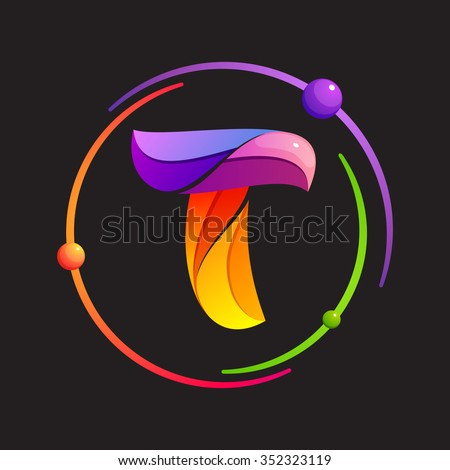 T letter logo with atomic or space orbits. Abstract trendy multicolored vector design template elements for your application or corporate identity. - stock vector