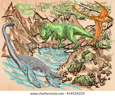 T Rex, Plesiosaur and Pterosaur. DINOSAURS. Life in the prehistoric time. Freehand sketching, line drawing. Hand drawn vector. Colored background is isolated. Colored Line art. Editable vector.