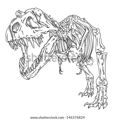 Trex Vector Line Drawingtrex Line Drawingdetailed Stock Vector