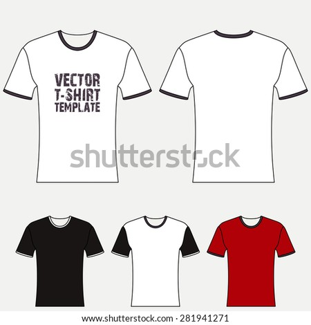 T-shirt blank design template, front and back view. Vector - stock vector