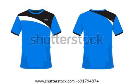 tshirt blue black soccer football templateのベクター画像素材