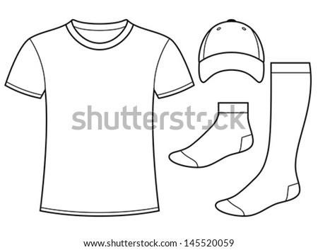 T-shirt, Cap and Socks template - stock vector