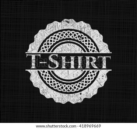T-Shirt chalkboard emblem on black board - stock vector