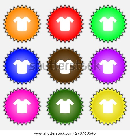 T-shirt, Clothes  icon sign. A set of nine different colored labels. Vector illustration - stock vector