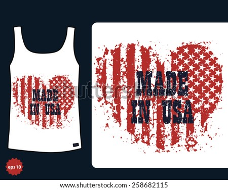 t-shirt design, made in USA heart sign vector illustration, eps10, easy to edit - stock vector