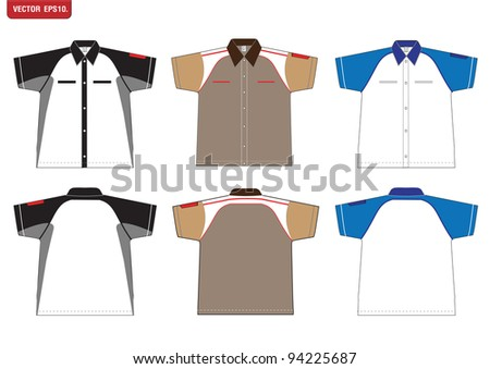 T-shirt design Vector template. front and back view - stock vector