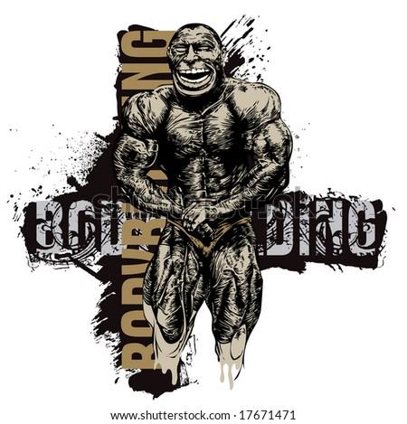 t-shirt design with bodybuilder. vector illustration - stock vector