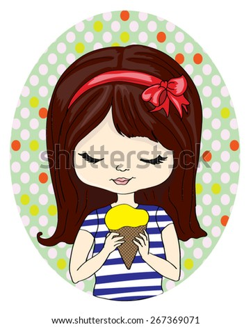 T-shirt Graphics/cute girl illustration/Fashion girl/cute girl illustration/pretty girl/illustration beautiful girl/Vector Cute beautiful fashionable girl/trendy girl/ice cream/girl vector - stock vector