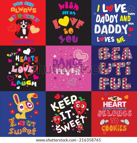 T-shirt graphics / Cute illustrations for children / T-shirt design for textile printing / cute animal / typographic t-shirt designs / illustrations for children's books / illustration sets - stock vector