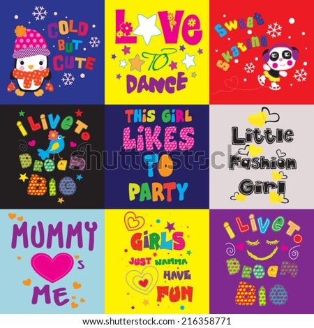 T-shirt graphics / Cute illustrations for children / T-shirt design for textile printing / cute animal / typographic t-shirt designs / illustrations for children's books - stock vector