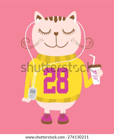 t-shirt graphics,hand-drawn illustration cat,cutie cat for apparel,cute cat with shoes,cat illustration,vector cat,cat graphics,music lovers cats,students cats,cat cartoon drawing,kitty mascot - stock vector