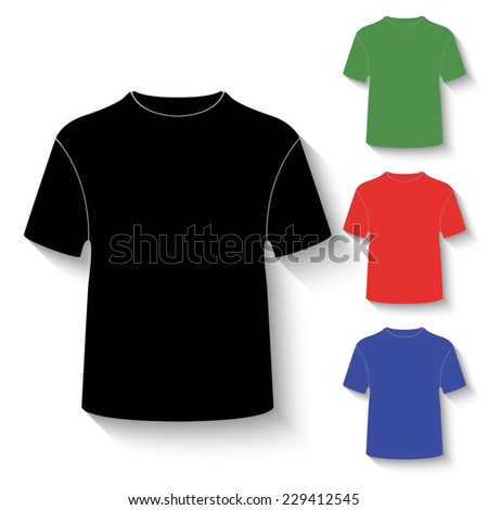 t-shirt icon - black and colored (green, red, blue) illustration with shadow - stock vector