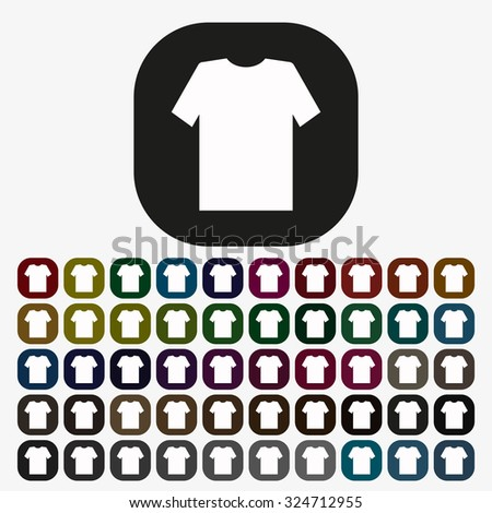 T-shirt  icon. vector design, set of colored buttons - stock vector