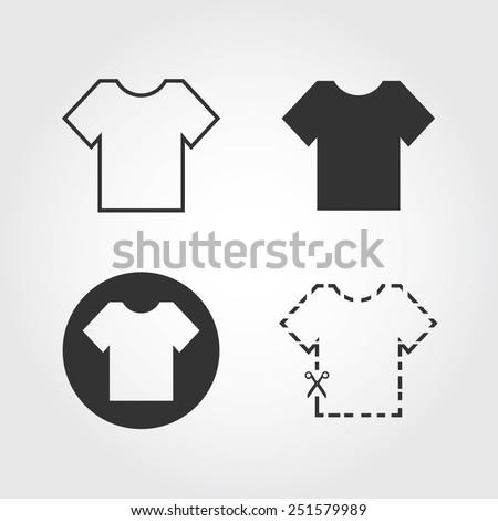 t-shirt icons set, flat design - stock vector