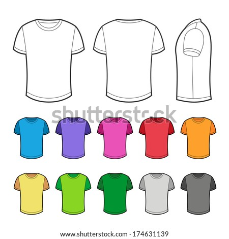 T-shirt in various colors - 2. - stock vector