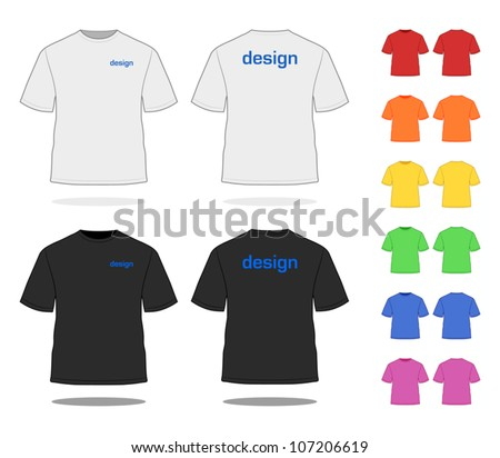 T-SHIRT in various colors. Simple VECTOR, easy to adjust. See more apparel design in my portfolio! - stock vector