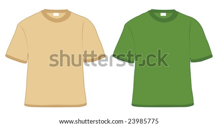 t-shirt khaki and green in vector - stock vector