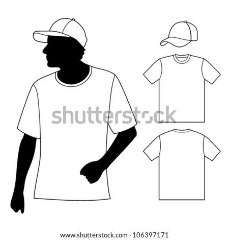 T-shirt. Men's template with human body silhouette and baseball cap