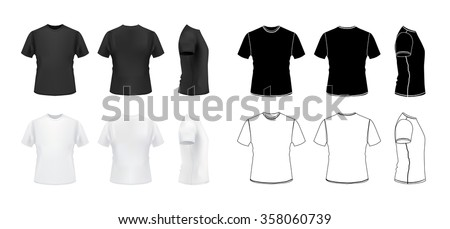T-shirt mockup set, 3d realistic and outline styles, front, side, back views, vector eps10 illustration isolated on white background - stock vector