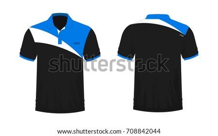 tshirt polo blue black template design stock vector 708842044