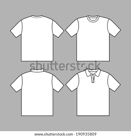 T-shirt polo men back and front. - stock vector