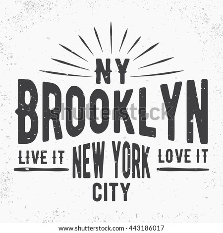Tshirt print design brooklyn vintage stamp stock vector for T shirt printing and labeling