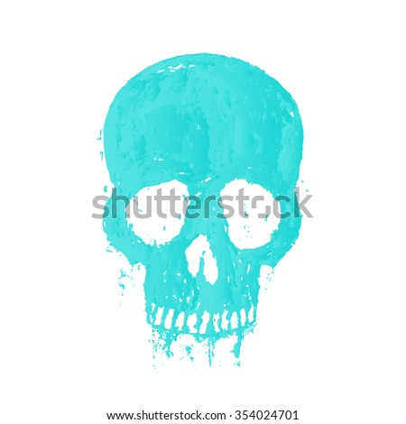 t-shirt print with painted skull, vector illustration - stock vector