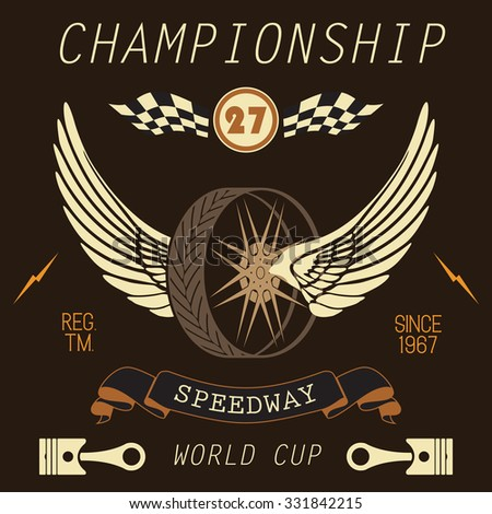 T-shirt Printing design, typography graphics, Speedway championship word cup series vector illustration Badge Applique Label. - stock vector