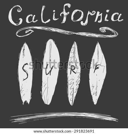 T-shirt Printing design, typography graphics Summer vector illustration Badge Applique Label California surf sign. - stock vector