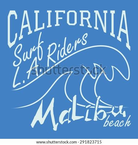 T-shirt Printing design, typography graphics Summer vector illustration Badge Applique Label California Malibu beach surf sign. - stock vector