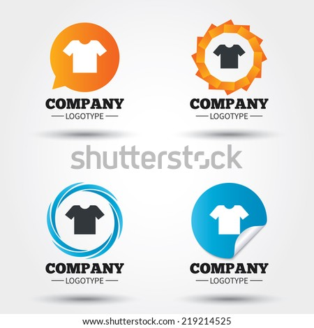 T-shirt sign icon. Clothes symbol. Business abstract circle logos. Icon in speech bubble, wreath. Vector - stock vector
