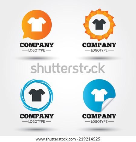T-shirt sign icon. Clothes symbol. Business abstract circle logos. Icon in speech bubble, wreath. Vector - stock vector