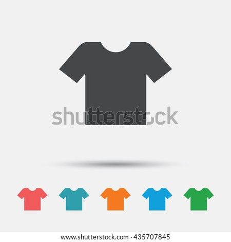 T-shirt sign icon. Clothes symbol. Graphic element on white background. Colour clean flat t-shirt icons. Vector - stock vector