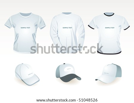t-shirt  template and cap - stock vector