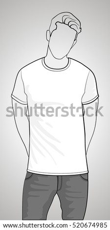 T-shirt template front view on the man. Man gray body silhouette. White color shirt. Vector eps 8 illustration.