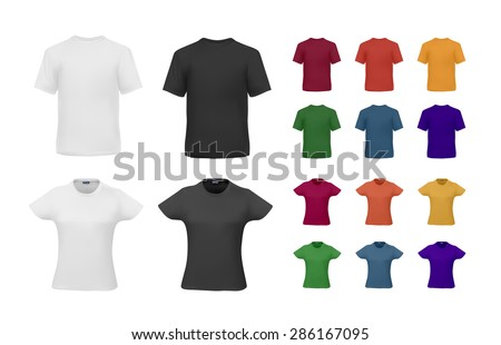 T-shirt template set for men and women, realistic gradient mesh vetor eps10 illustration. - stock vector
