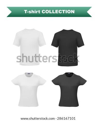 T-shirt template set for men and women, realistic gradient mesh vetor eps10 illustration. - stock vector