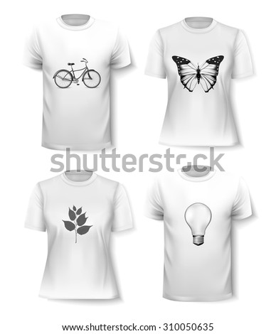 T-shirt template set for men and women. Vector - stock vector