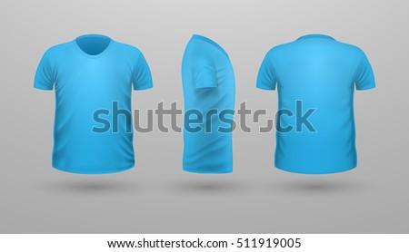 Vector illustration blank blue men tshirt stock vector for Aqua blue color t shirt