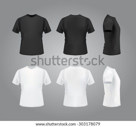 T-shirt template set, front, side, back view. Vector eps 10 illustration. - stock vector