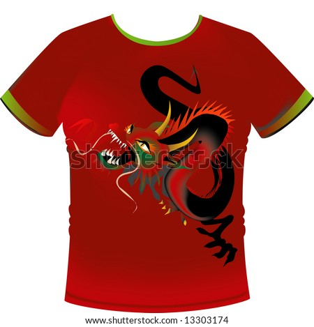 T-shirt with dragon Motif - stock vector