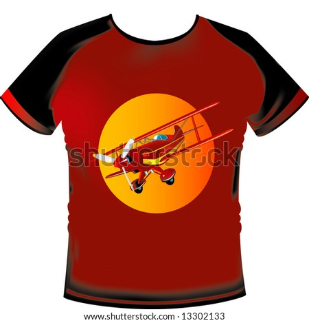 T-shirt with gradient mesh and aeroplane motif - stock vector