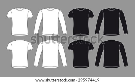 T-shirts icons in black and white colors, vector isolated clothes elements - stock vector
