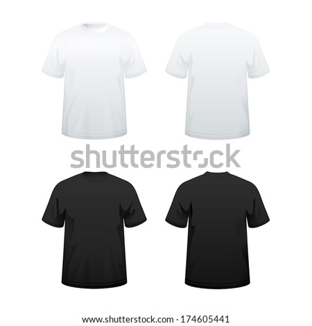 T-shirts in white and black color variations - stock vector