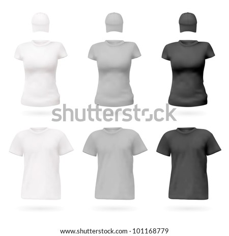T-shirts in white, grey and black color. - stock vector