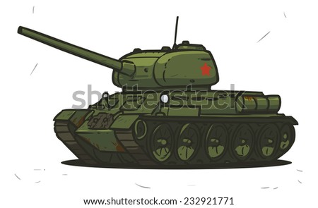 t-34 Soviet Union wwII tank - stock vector