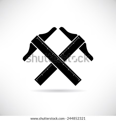 T square ruler - stock vector