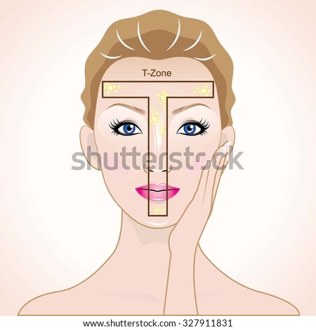 T-Zone face - stock vector