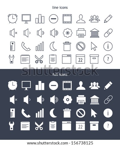 Tab bar line & full icons for web and mobile devices - stock vector